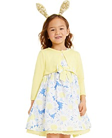 Little Girls 2-Pc. Shrug & Floral Dress Set