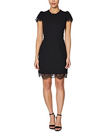 Lace-Trim Scuba Sheath Dress