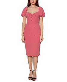 Puff-Sleeve Dot-Print Midi Dress