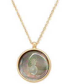 "Gold-Tone Pineapple Pendant Necklace, 16"" + 2"" extender"