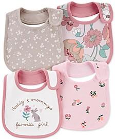Baby Girls 4-Pk. Cotton Floral-Print Bibs