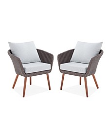 Athens All-Weather Wicker Outdoor Chairs with Cushions Set