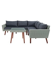 Albany All-Weather Wicker Outdoor Corner Sectional Sofa with Square Cocktail Table Set