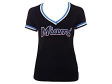 Women's Miami Marlins Contrast Binding T-Shirt