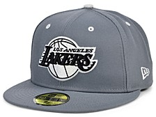 Los Angeles Lakers Storm Black White Logo 59FIFTY Cap