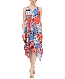 Bandana-Print Handkerchief-Hem Dress