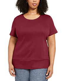 Plus Size Cotton Snap-Detail Shirt, Created for Macy's