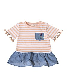 Toddler Girls Stripe Peplum Hem Tassel Top