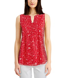 Floral-Print Pintuck Top, Created for Macy's