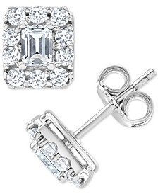 Diamond Square Halo Stud Earrings (1 ct. t.w.) in 14k White Gold
