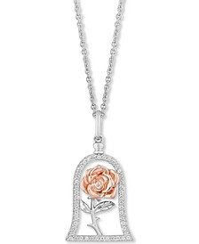 Enchanted Disney Diamond Rose Belle Pendant Necklace (1/5 ct. t.w.) in Sterling Silver & 14k Rose Gold