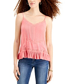 Juniors' Adjustable Lace-Trim Camisole