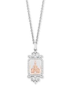 "Enchanted Disney Diamond (1/6 ct. t.w.) & White Topaz (4-1/2 ct. t.w.) Majestic Princess Castle Pendant Necklace in Sterling Silver & 14k Rose Gold, 16"" + 2"" Extender"""