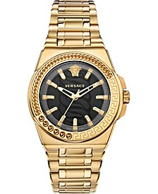 Women's Swiss Chain Reaction Gold Ion-Plated Stainless Steel Bracelet Watch 40mm