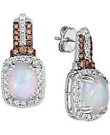 Neopolitan Opal (2 ct. t.w) & Diamond (7/8 ct. t.w.) Drop Earrings in 14k White Gold