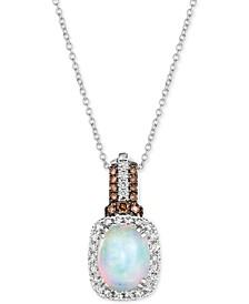 "Neopolitan Opal (1-3/8 ct. t.w.) & Diamond (3/8 ct. t.w.) 18"" Pendant Necklace in 14k White Gold"