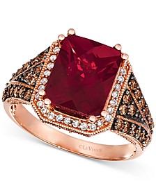 Raspberry Rhodolite (3-7/8 ct. t.w.) & Diamond (5/8 ct. t.w.) Statement Ring Ring in 14k Rose Gold