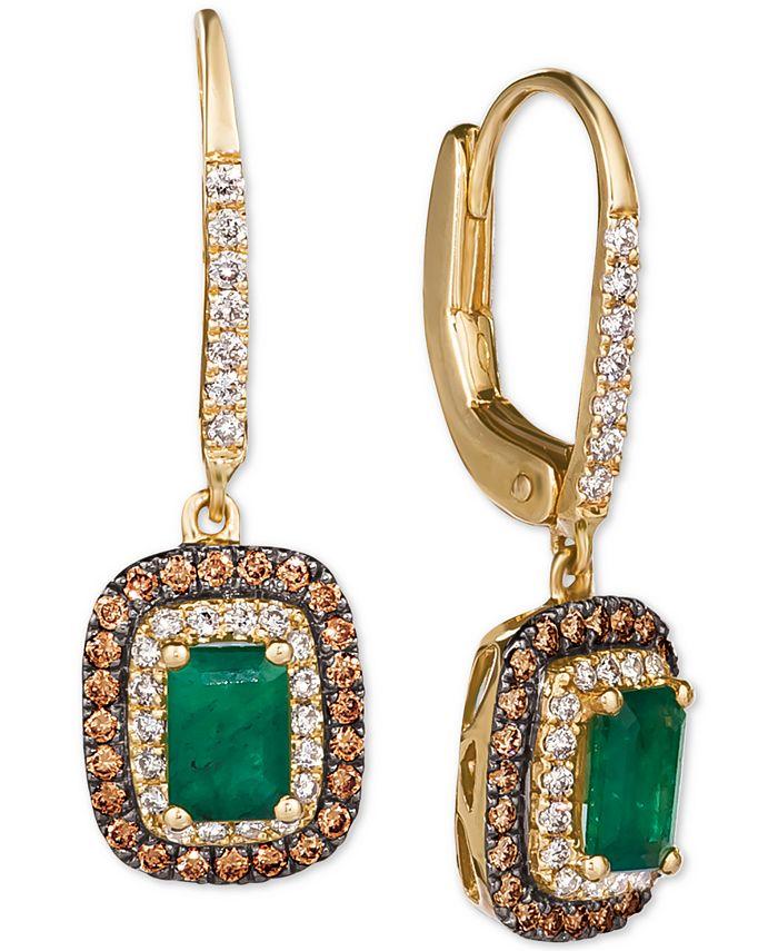 Le Vian - Costa Smeralda Emerald (3/4 ct. t.w.) & Diamond (5/8 ct. t.w.) Drop Earrings in 14k Gold