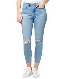 Ripped High-Rise Raw-Hem Ankle Jeans