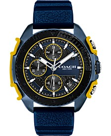 Men's Chronograph C001 Blue Silicone Strap Watch 45mm