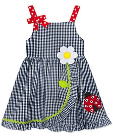 Baby Girls Ladybug Checked Seersucker Ruffle Dress
