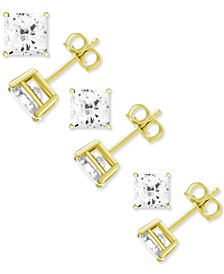 3-Pc. Set Fine Silver Plated Square Cubic Zirconia Stud Earrings