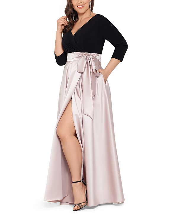 XSCAPE Plus Size 3/4-Sleeve Satin-Skirt Gown
