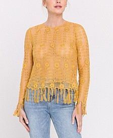Fringed Crochet Lace Top