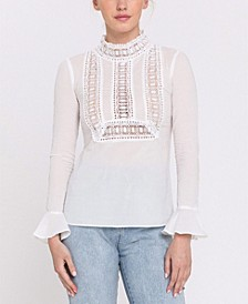 Lace Trim Detail with Bell Sleeve Blouse