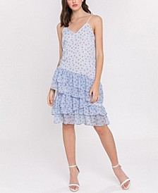 Ditzy Lotus Print Strappy Ruffled Dress