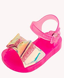 Baby Girls Jelly Sandal with Iridescent Bow Detail