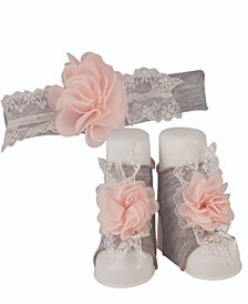 Baby Girls Heathered Cotton Knit Ornament Headband with Matching Peep Toe Socks