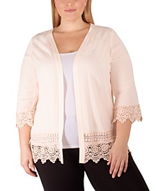 Plus Size Crochet-Trim Cardigan