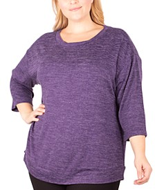 Plus Size Crewneck 3/4-Sleeve Top, Created for Macy's