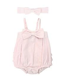 Baby Girl Seersucker Romper and Headband Set