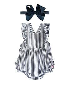 Baby Girl Navy Stripe Romper and Bow Headband Set