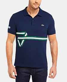 Men's Regular Fit Short Sleeve Cotton Pique Polo Shirt with Heritage Ribbon Graphic