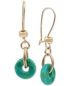 Gold-Tone Ring Linear Drop Earrings