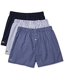 Men's 3-Pk. Woven Cotton Boxers