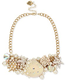 """Gold-Tone Crystal & Imitation Pearl Seashell Statement Necklace, 17"""" + 3"""" extender"""