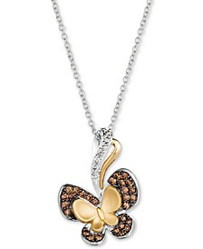 "Diamond Butterfly 18"" Pendant Necklace (1/3 ct. t.w.) in 14k Gold & 14k White Gold"
