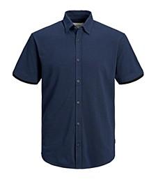 Men's Cotton Pique All Over Button Polo Short Sleeve Shirt