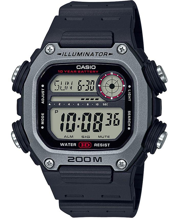 Casio - Men's Digital Black Resin Strap Watch 50.4mm