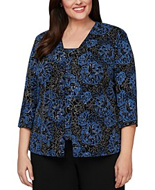 Plus Size Printed Jacket & Top Twinset
