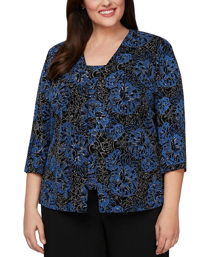 Alex Evenings - Plus Size Printed Jacket & Top Twinset