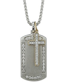 "Men's Diamond Cross & Dog Tag 22"" Pendant Necklace (1 ct. t.w.) in Sterling Silver"