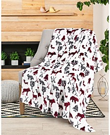 Buffalo Check Moose and Bear Printed Plush Throw