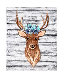 Inc Knitted Throw Ribbed Flannel Print Floral Deer