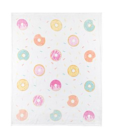 Inc Knitted Ribbed Flannel Throw Whimsical Donuts