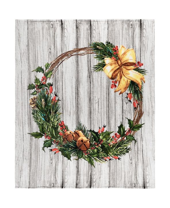 Safdie & Co Inc Knit Printed Flannel Xmas Throws Ribbed Wreath
